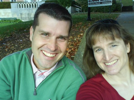 David Powers ('90) and I on the steps near the library.