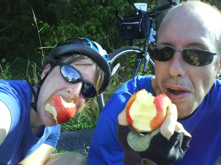 A shot of me and Glenn at the first rest stop on the Bike Trek to Shakertown last fall. My very first bike trek. Now I'm doing another one!