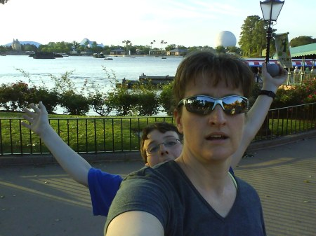 Me and my home-boy, chillin' near the lake at Epcot. Word.