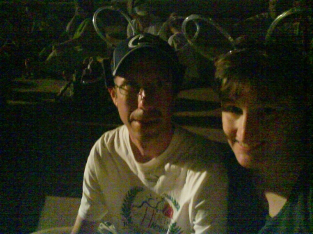 Glenn and I (sporting light-up mickey ears) waiting for IllumiNations to begin.